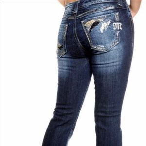 MISS ME Jeans Sequin Feather Pockets Size 29